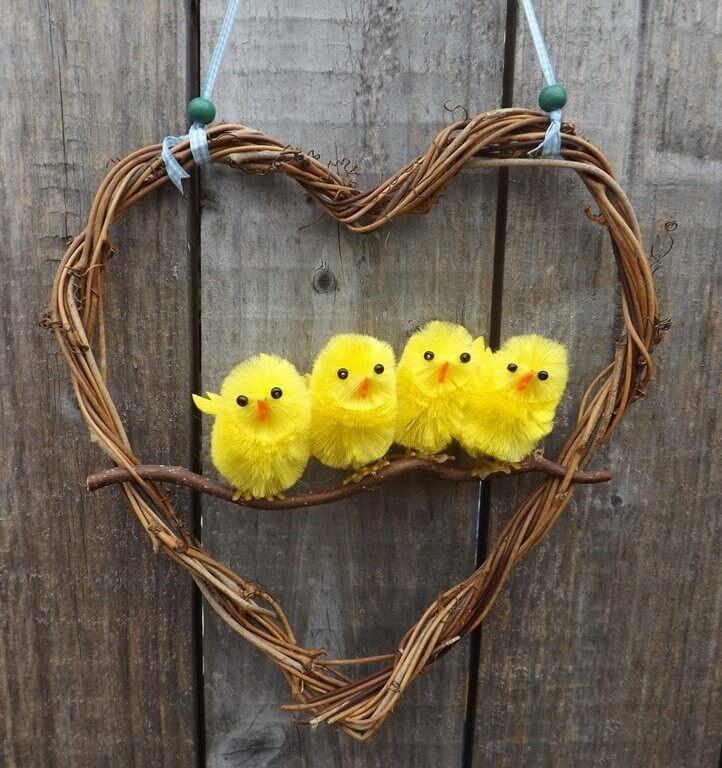 Grapevine Wreath with Baby Chicks