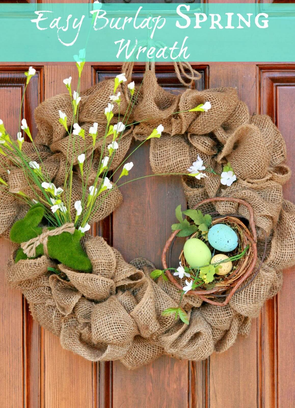 Rustic Burlap Wreath for Spring