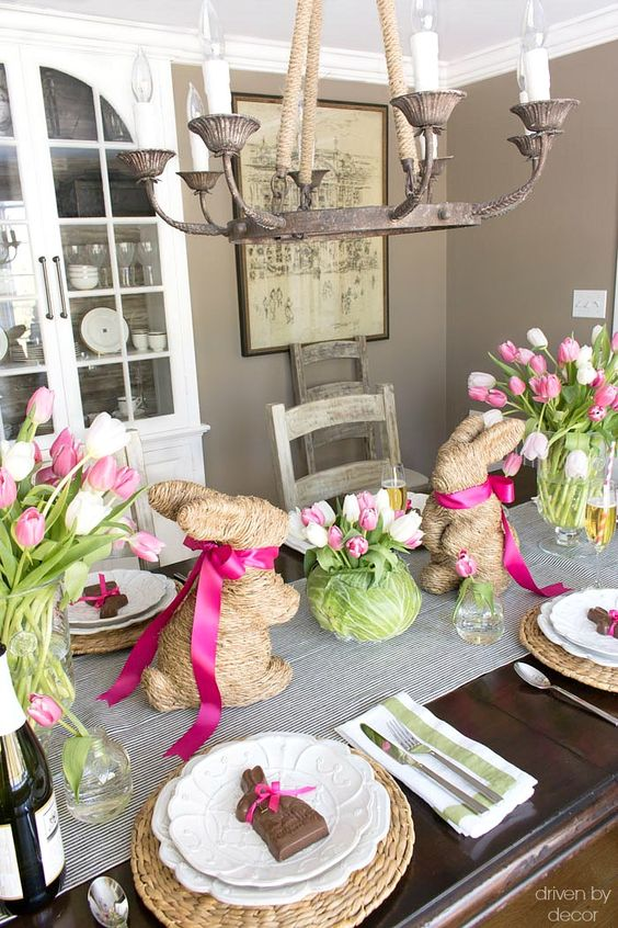 A cute idea for decorating your table for Easter