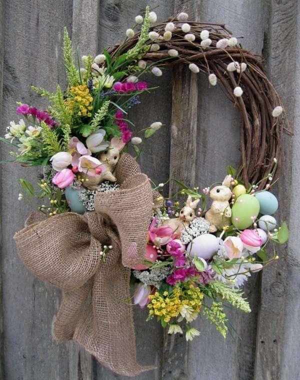 Bunnies and Eggs Easter Wreath