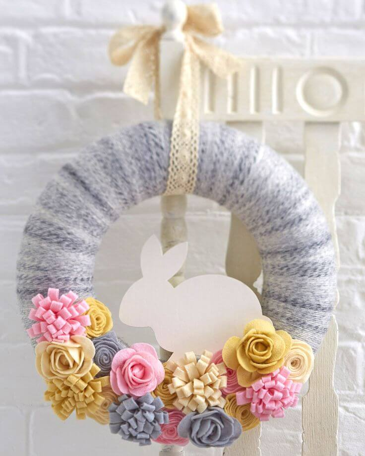 Bunny Wreath with Fabric Flowers