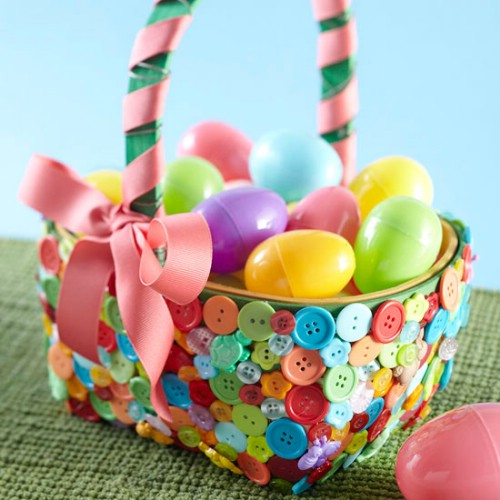 Colorful Button Easter Baskets