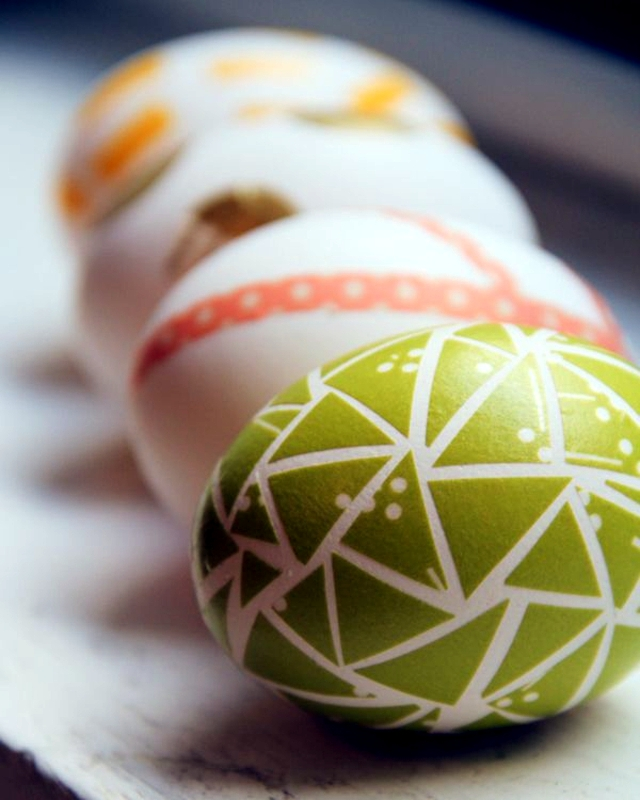 Colorful Easter eggs decorated with tape