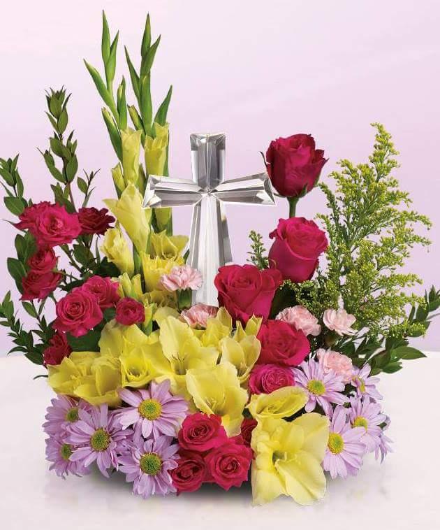 Crystal Cross For Easter Flower Arrangement