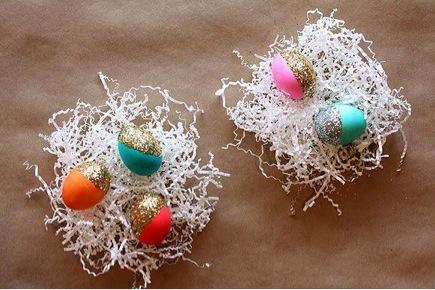 DIY Glitter Block Easter Eggs