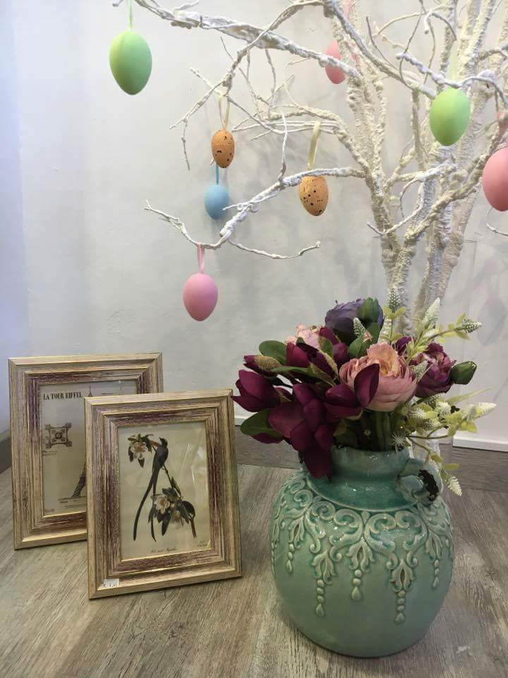 Designer Vase With Flowers And Easter Egg Tree