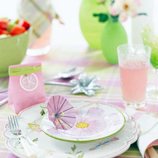 Dominant pastel colors on the table festively decorated for Easter