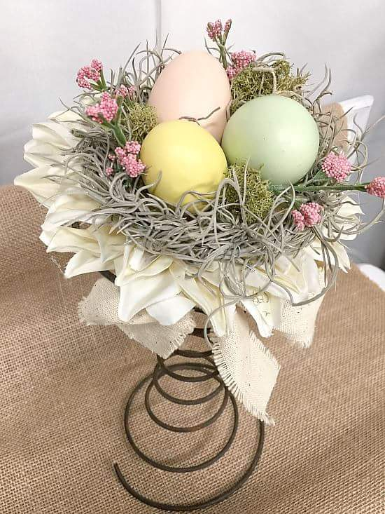 Easter Egg Nest With Flowers