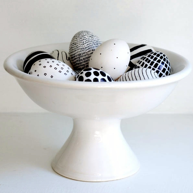 Easter eggs in black and white