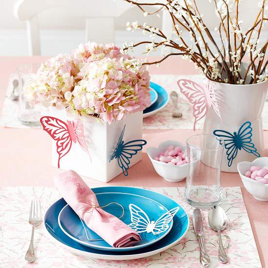Fresh and beautiful Easter decoration with butterflies