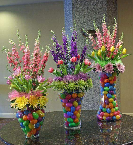 Multicolor Easter Eggs In Vase With Flowers