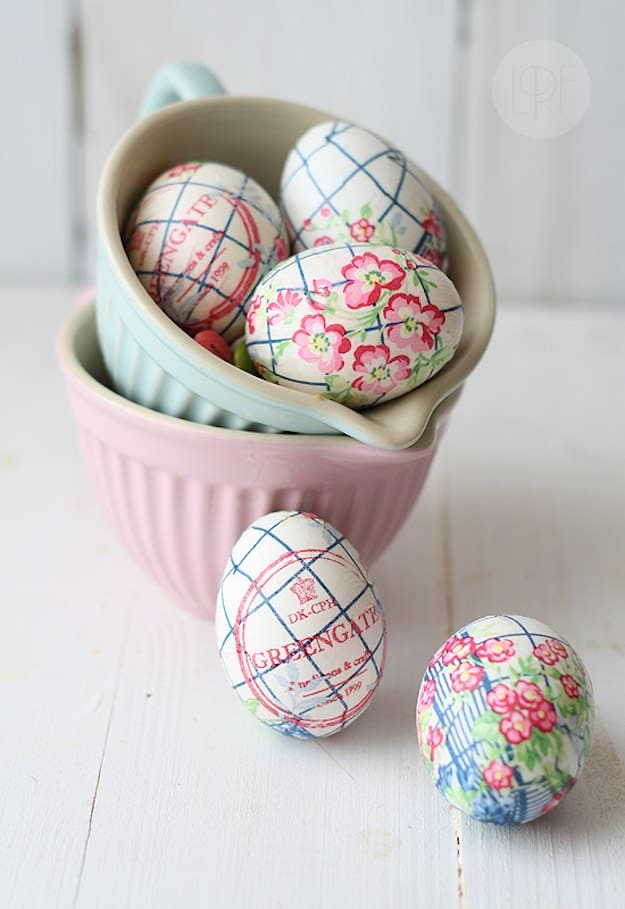 Paper Napkin Decorated Easter Eggs