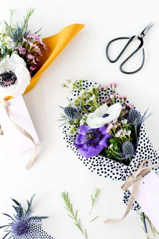 Polka Dot Wrapped Flower Bouquet