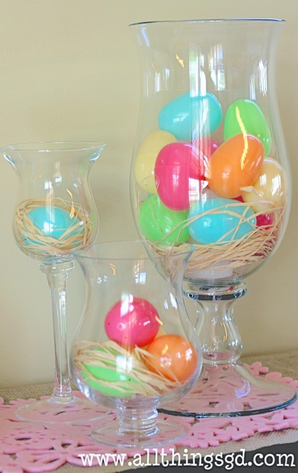 Simply fill glass vases