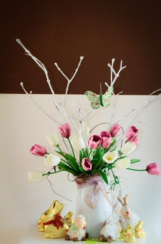 Vase of Flowers and Easter Candies