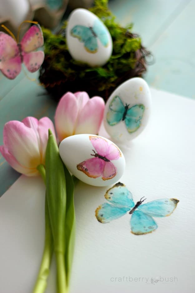 Watercolor Butterfly Easter Eggs
