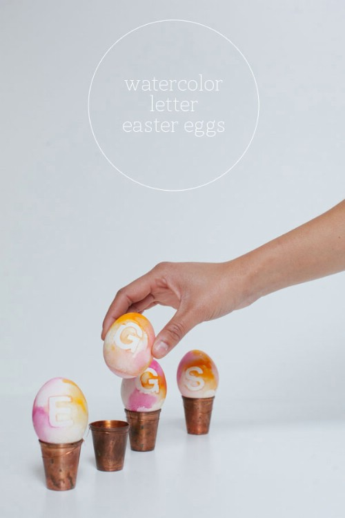 Watercolor Lettered Easter Eggs