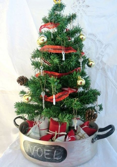 small christmas tree christmas tree in a roasting pan - Small Christmas Tree Decorating Ideas