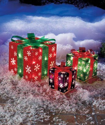 diy outdoor christmas decorations lighted gift boxes - Diy Lighted Outdoor Christmas Decorations