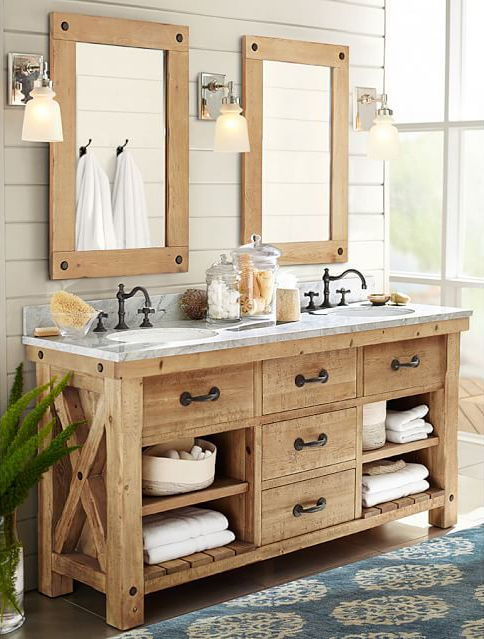 50 Relaxing Rustic Style Bathroom Ideas, Country Style Bathroom Vanity