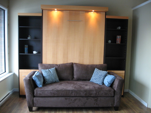 Murphy Bed With Sofa Combo Within Tv On Contemporary Home Theater Vancouver