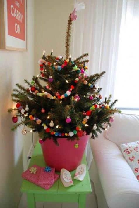 small christmas tree pompom tree decor - Small Christmas Tree Ornaments