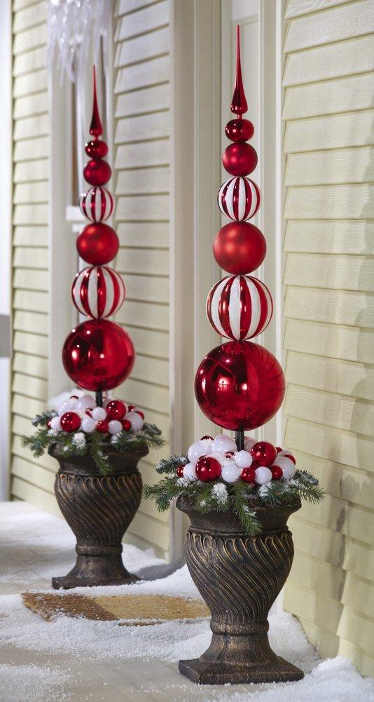 45 best diy outdoor christmas decorations ideas detectview diy outdoor christmas decorations red white christmas ornament ball finial topiary solutioingenieria Choice Image