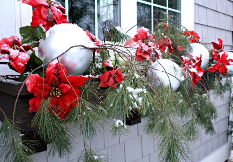 you can make a window box and fill it with some fir leaves some ornaments some gifts and decorate it with fruits garlands and lights